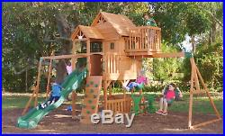 Kids Garden Playhouse Outdoor Children Slide Large Swing Set Wood TreeHouse Tent