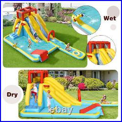 Kids Inflatable Water Castle Double Slide Bouncer Playhouse With Ball & Carry Bag