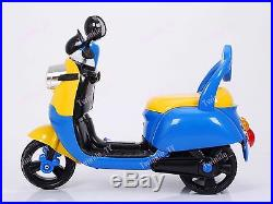 Kids New Electric Tricycle Minions Style Blue Cute Motorcycle Motorbike Ride On