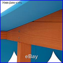 Kids Outdoor Sandbox Wooden Movable Playhouse Roof Childrens Garden Toys Patio