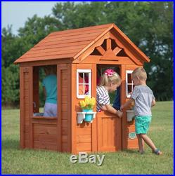 Kids Outdoor Wooden Playhouse With Accessories Childrens Garden Den Play House