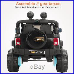 Kids Ride On Jeep 12V Electric Battery Black Toy Cars Remote Control 4 Speeds