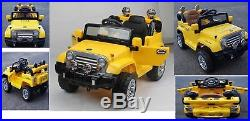 Kids Sit On Ride On Toy Electric Wrangler Jeep 12V Battery Remote Control Yellow