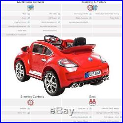 Kids VW Beetle Style 12V Electric Motor Battery Operated Ride On Car with MP3
