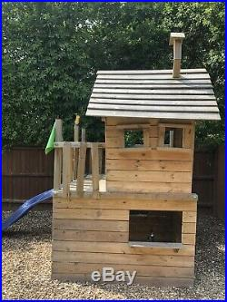 Kids Wooden Climbing Frame Playhouse and Slide