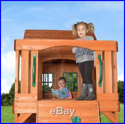 Kids Wooden Garden Play House Outdoor Childrens Slide Swing Set Play Centre New