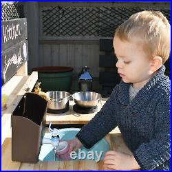 Kids Wooden Mud Kitchen with Real Working Tap and Garden Hose Connection