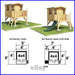 Kids Wooden Playset House Outdoor Tower Yard Treehouse Children Playset Hideout