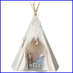 Large Cotton Canvas Kids Teepee Playhouse Tent Indoor Outdoor Wigwam Play House