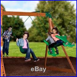 Large Garden Playhouse Children Kids Wooden Playcentre Outdoor Tree House Swings
