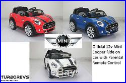 New Battery Electric Kids Official Mini Ride On Toy Car + Parental Remote 12v