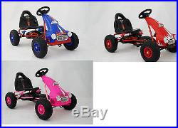 New Pedal Push Ride On Kids Junior Go Kart Rubber Tyres Adjustable Seat
