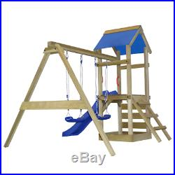 Outdoor Children Kids Playhouse Set with Ladder, Slide and Swings 290x260x245cm