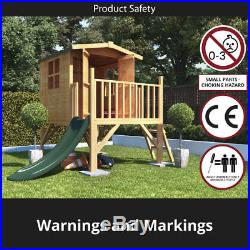 Outdoor Childrens Solid Wooden Playhouse Tower with Slide Garden Kids Play House