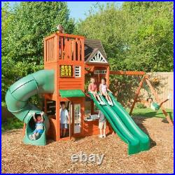 Outdoor Kids Wooden Playcentre with 3-Level Fort, Swings, Tube & Straight Slide