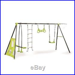 Outdoor Play Metal Garden 6 Swing Set frame for kids Rope Ladder Trapeze & more