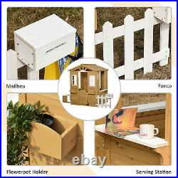 Outsunny Kid Outdoor Wooden Playhouse with Door Windows Bench Natural
