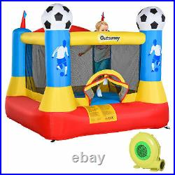 Outsunny Kids Football Bouncy Castle House with Net Outdoor Trampoline 3-12 Yrs