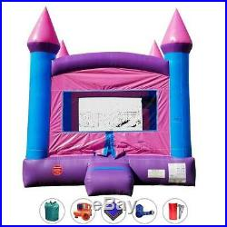 Pink Princess Inflatable Bounce House Castle Kids Backyard Moonwalk With Blower