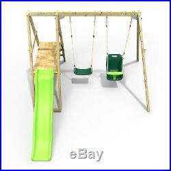 Rebo Active Kids Range Wooden Swing Set with Seat, Baby Seat and Slide Green