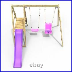 Rebo Active Kids Range Wooden Swing Set with Seat, Baby Seat and Slide Pink