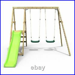 Rebo Active Kids Range Wooden Swing Set with Two Seats and Slide Green