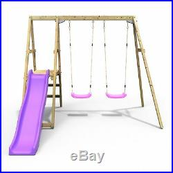 Rebo Active Kids Range Wooden Swing Set with Two Seats and Slide Pink