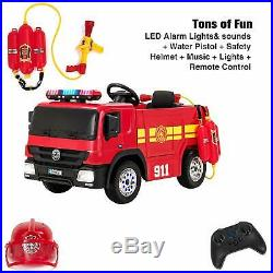 RiiRoo 12V Fire Engine Ride On Car Kids Battery Operated Electric & Accessories