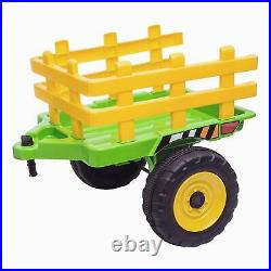 RiiRoo 12V Kids Tractor With Trailer Battery Powered Led Lights MP3 Seatbelt