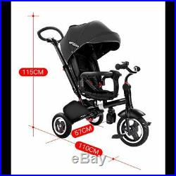 RiiRoo Kids Tricycle 4-in-1 Baby Trike with Push Handle Rotating and Reclining