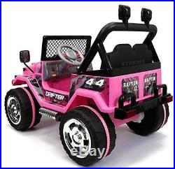 Rocket Drifter 4x4 12v Kids Electric Ride on Jeep with Parental Remote- Pink