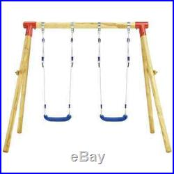 Swing Set Pinewood Double Outdoor Garden Playground Kids Equipment