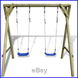 Swing Sets Wood Playsets Kids Childrens Outdoor Garden Toy With Metal Hooks New