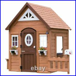 Traditional Backyard Children Playhouse Wood Wendy House Kids Outdoor Wooden