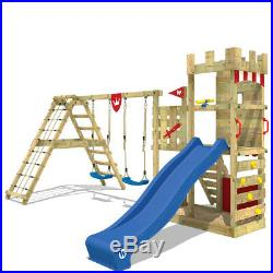 WICKEY Smart Crown Climbing Frame kids garden playground slide swing and sandpit