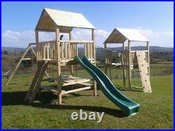 WORKS Double 6ftsq Top Quality WOODEN CLIMBING FRAME Kids Climb Set Family Fun