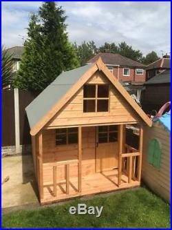 Wooden 6x6 Outdoor Childrens Playhouse FULLY T&G Wendy House Kids Timber Den
