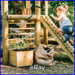 Wooden Climbing Frame Kids Garden Treehouse with Slide and Built In Planter NEW