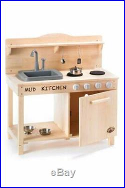 Wooden Mud Kitchen Kids Outdoor / Indoor Role Play With Water Function