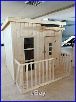 Wooden Playhouse For Kids Modern Outdoor Timber Play House Childrens Garden Toy